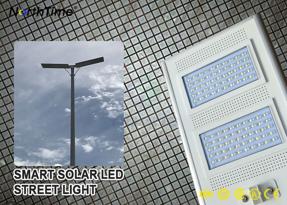 چین IP65 Smart Control Solar Powered LED Street Lights With Solar Panel & Lithium Battery کارخانه